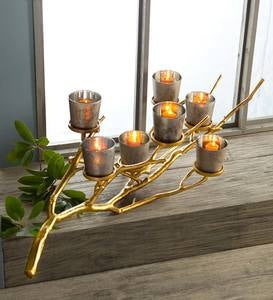 Metal Branch Mercury Glass Votive Holder