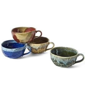 Jewel Tone Boulder Mugs, Set of 4