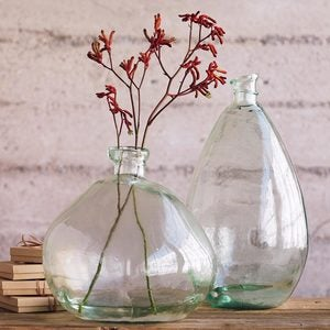 Recycled Glass Balloon Vases, set of 2 - Brown/Amber