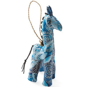 Fair Trade Colorful Cotton Giraffe Ornament - Red
