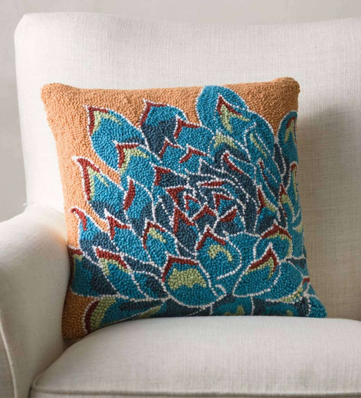 Succulent Hand-hooked Wool Pillow, Blue