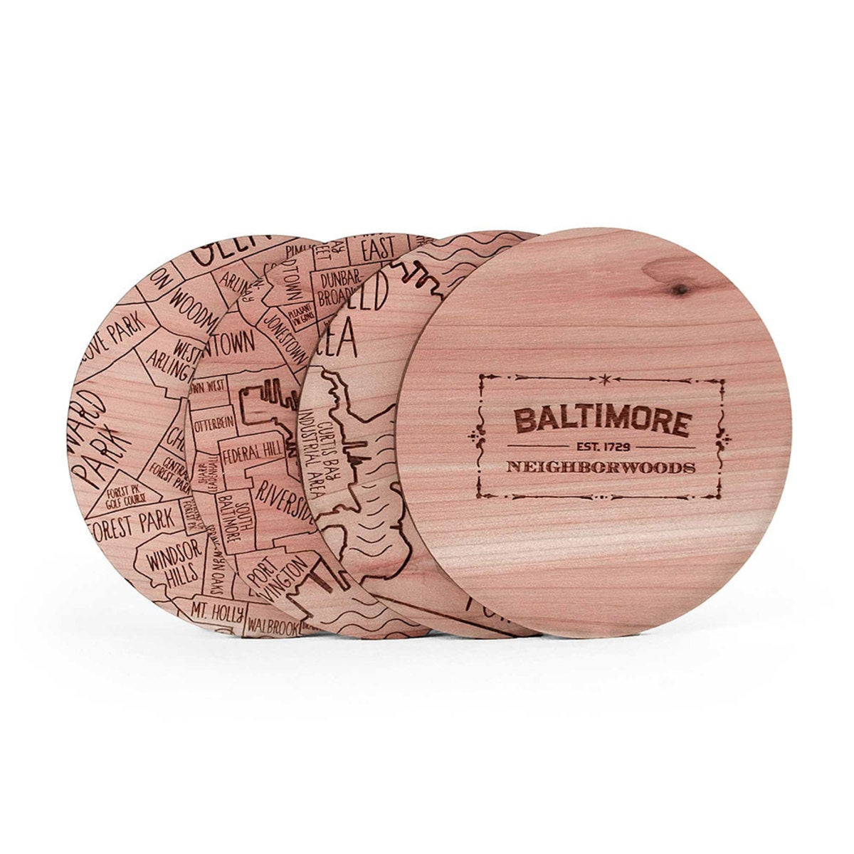 City Cedar Coasters, Set of 4 - Baltimore