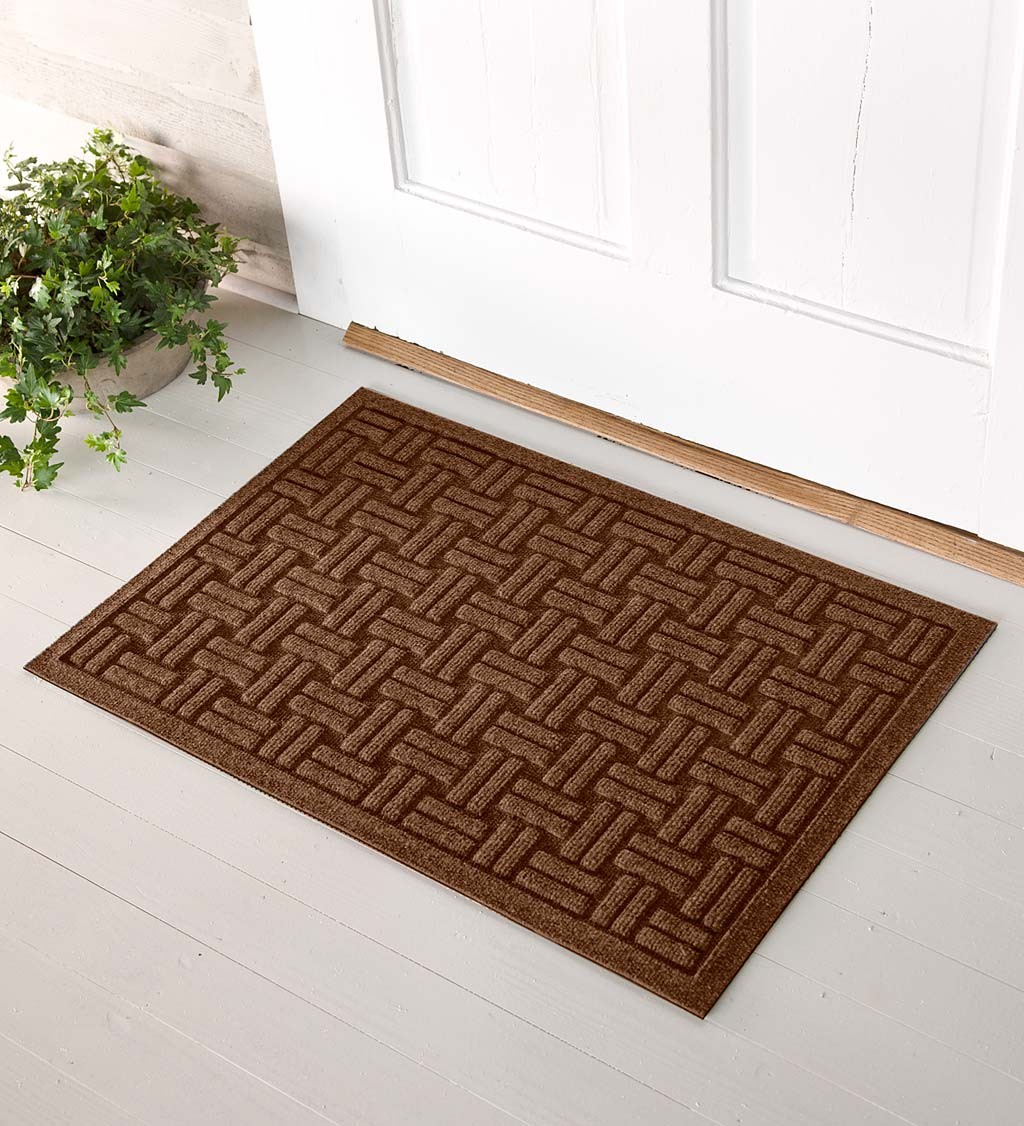 Basket Weave Recycled Waterhog Doormat
