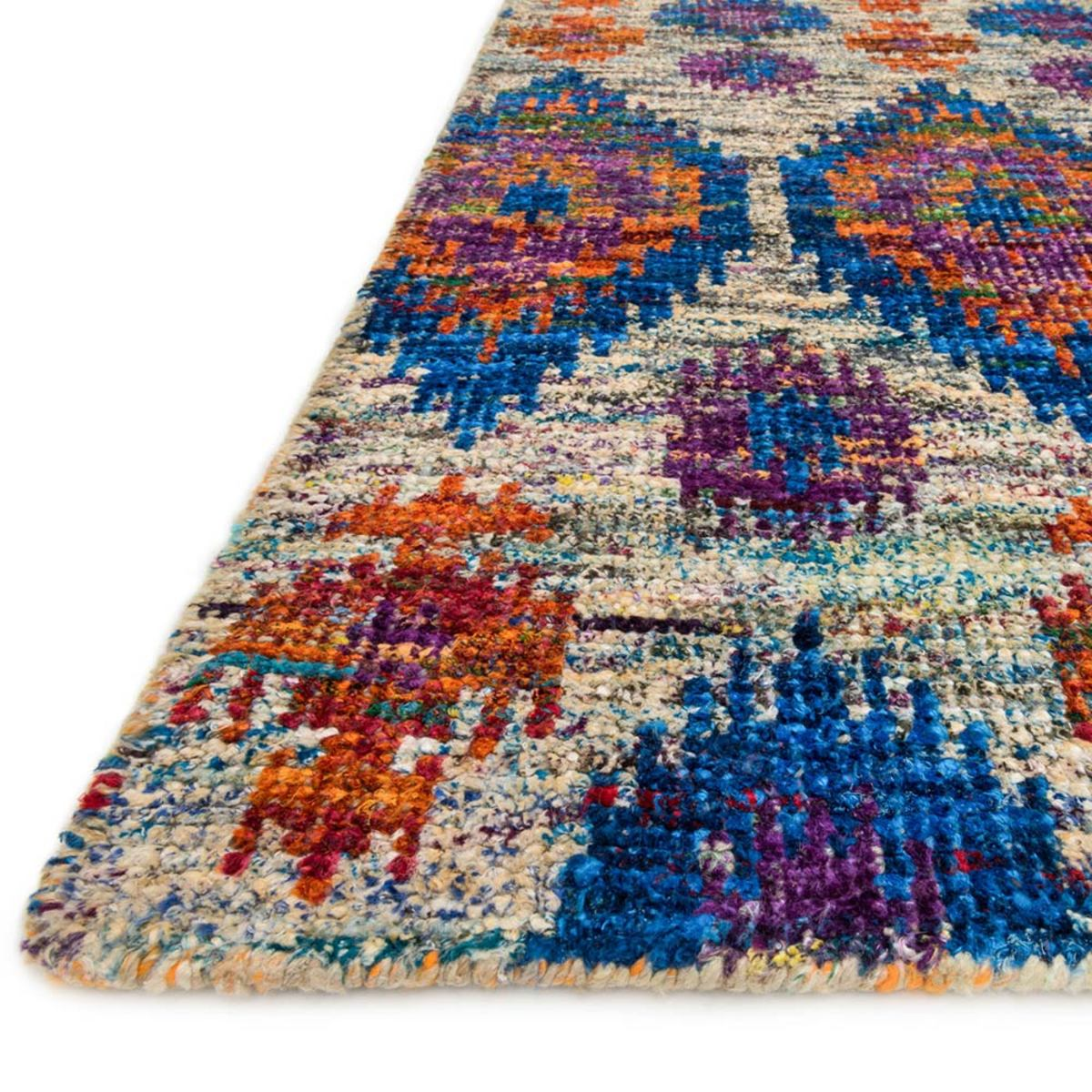 "Loloi Giselle Blue Ikat Rug in Mediterranean - 5'6"" x 8'6""  - Peacock"