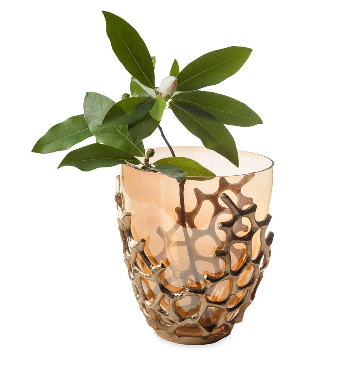 Golden Coral Small Vase with Glass Insert