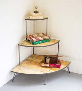 Recycled Wood and Iron Three-Tiered Corner Display Shelf