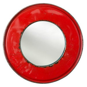 Recycled Oil Drum Mirror - Red
