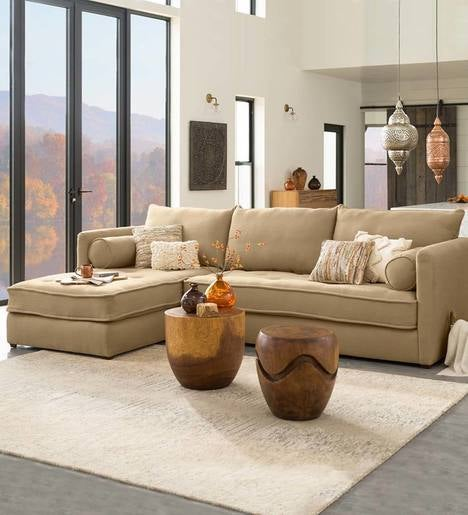 Eco Linen Sectional Sofa with Left Chaise
