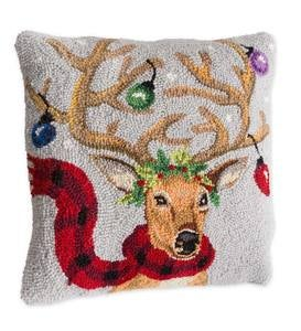 Hand-Hooked Lighted Reindeer Pillow