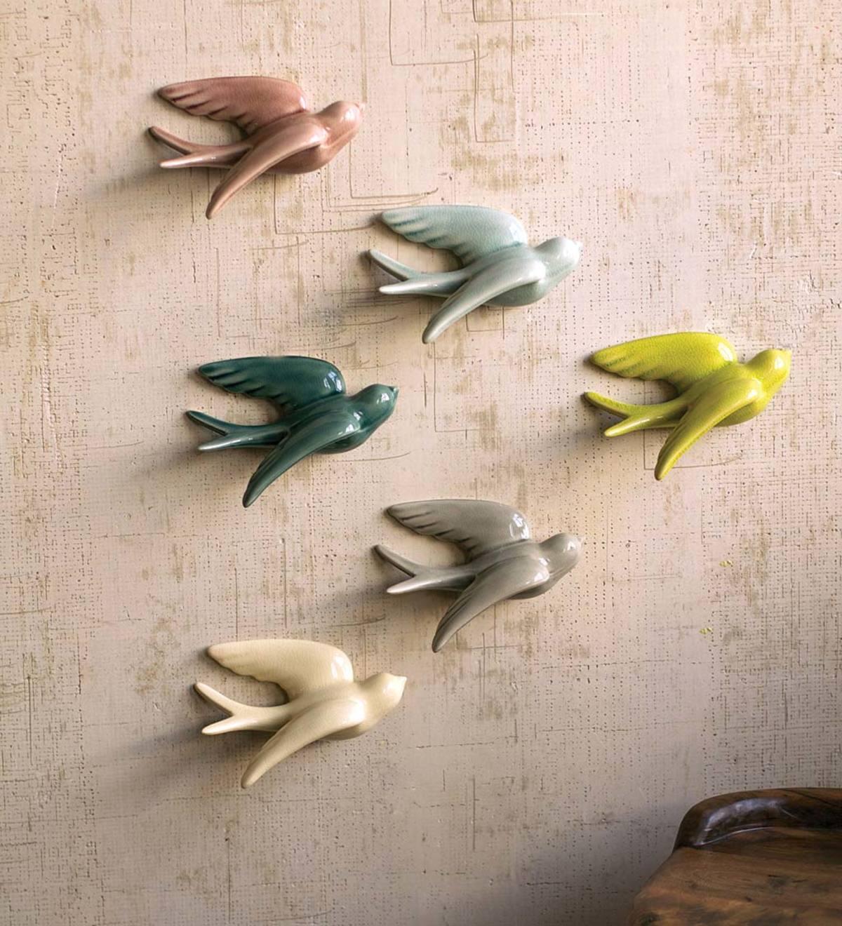 Ceramic Flying Birds Wall Decor from www.vivaterra.com