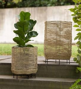 Seagrass Basket Planters with Iron Base, Set of 2