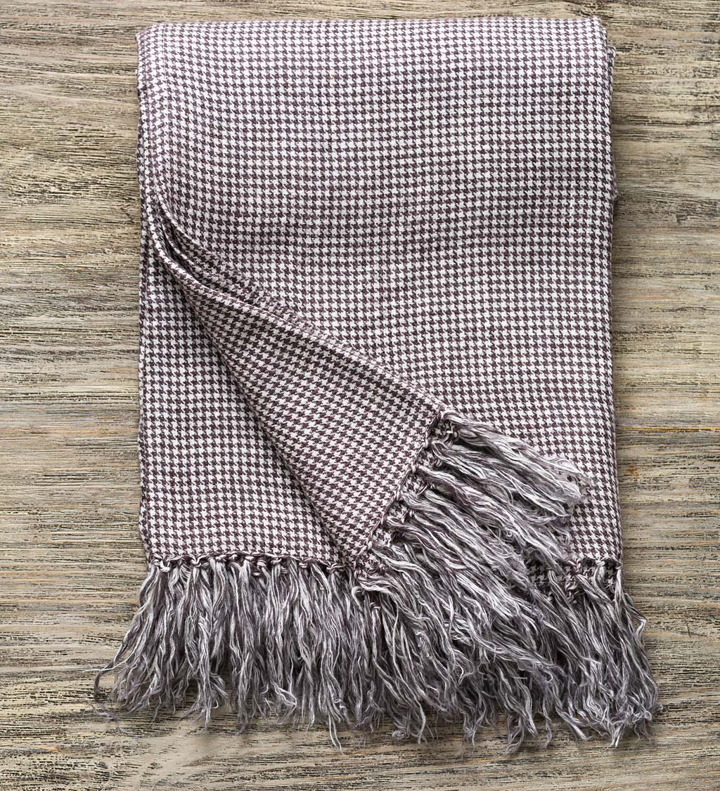 Houndstooth Linen Throw