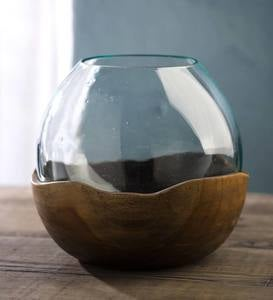 Blown Glass Vase with Teak Base- Large