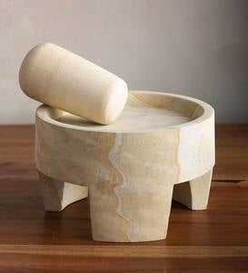 Javanese White Stone Mortar and Pestle