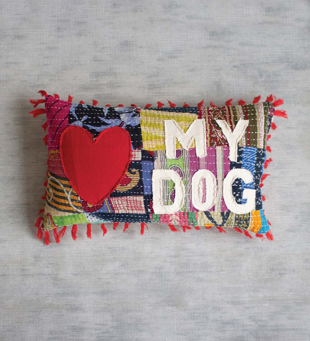 Love My Dog/Cat Kantha Pillow