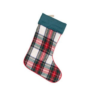 Multi Plaid Stocking with Linen Cuff