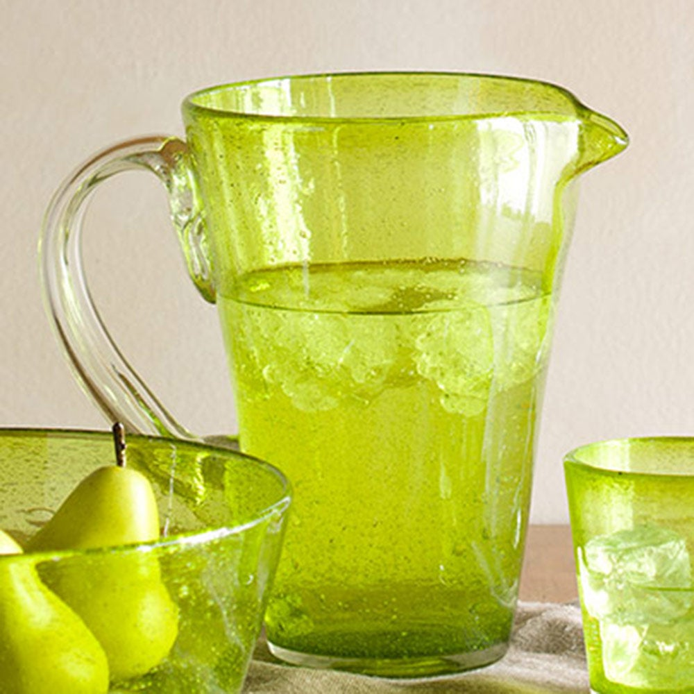 Bright Bubbled Recycled Glass Iced Tea Drink Set - Green