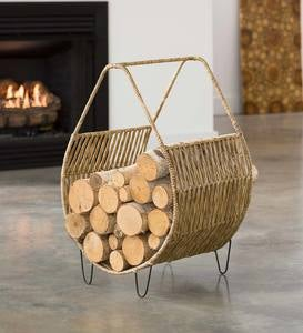 Woven Magazine/ Wood Rack with Tall Handle