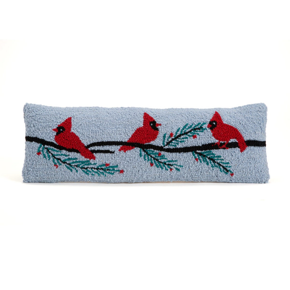 Hand-Hooked Wool Lumbar Pillow - Cardinal Perch