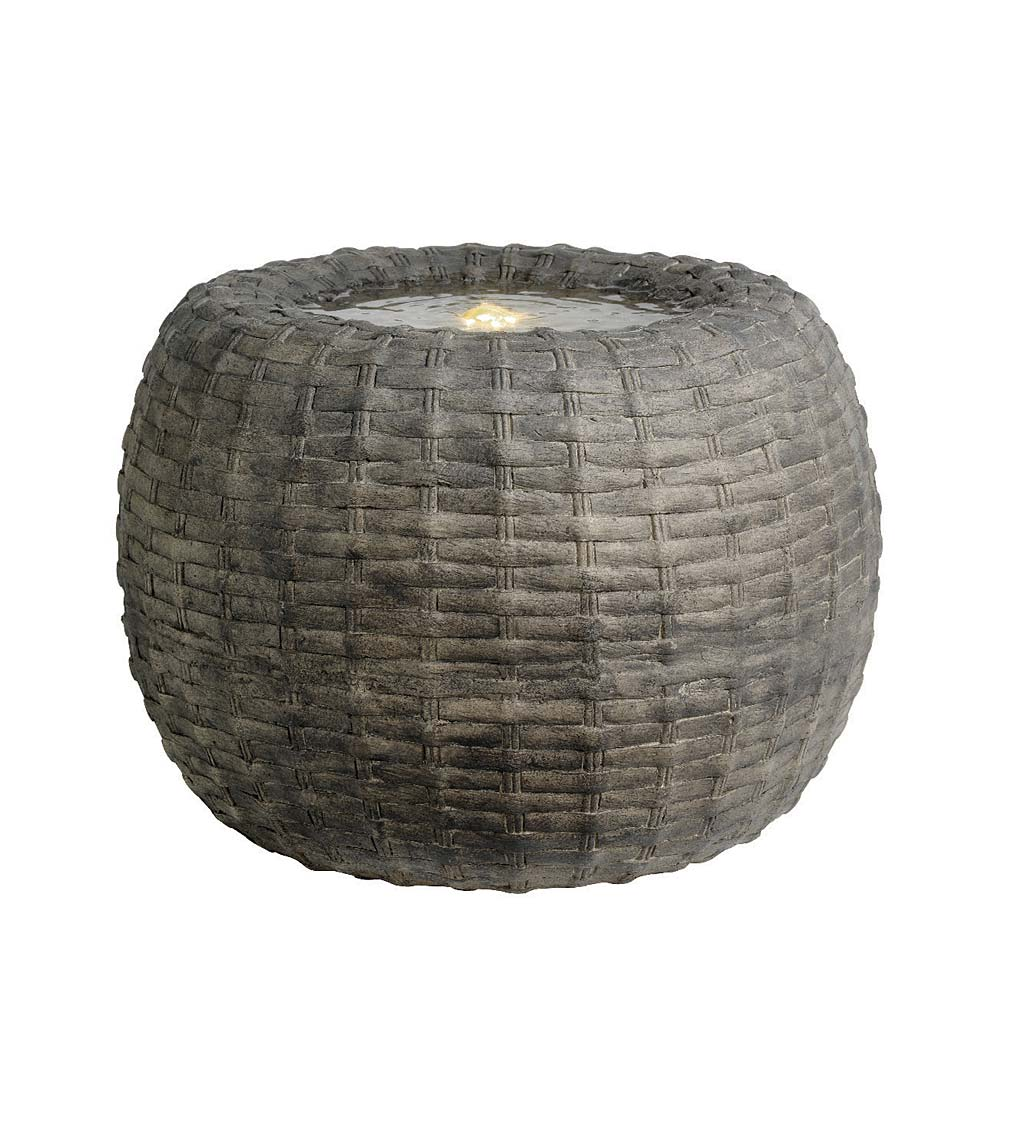 Indoor/Outdoor LED Lighted Wicker Basket Water Fountain