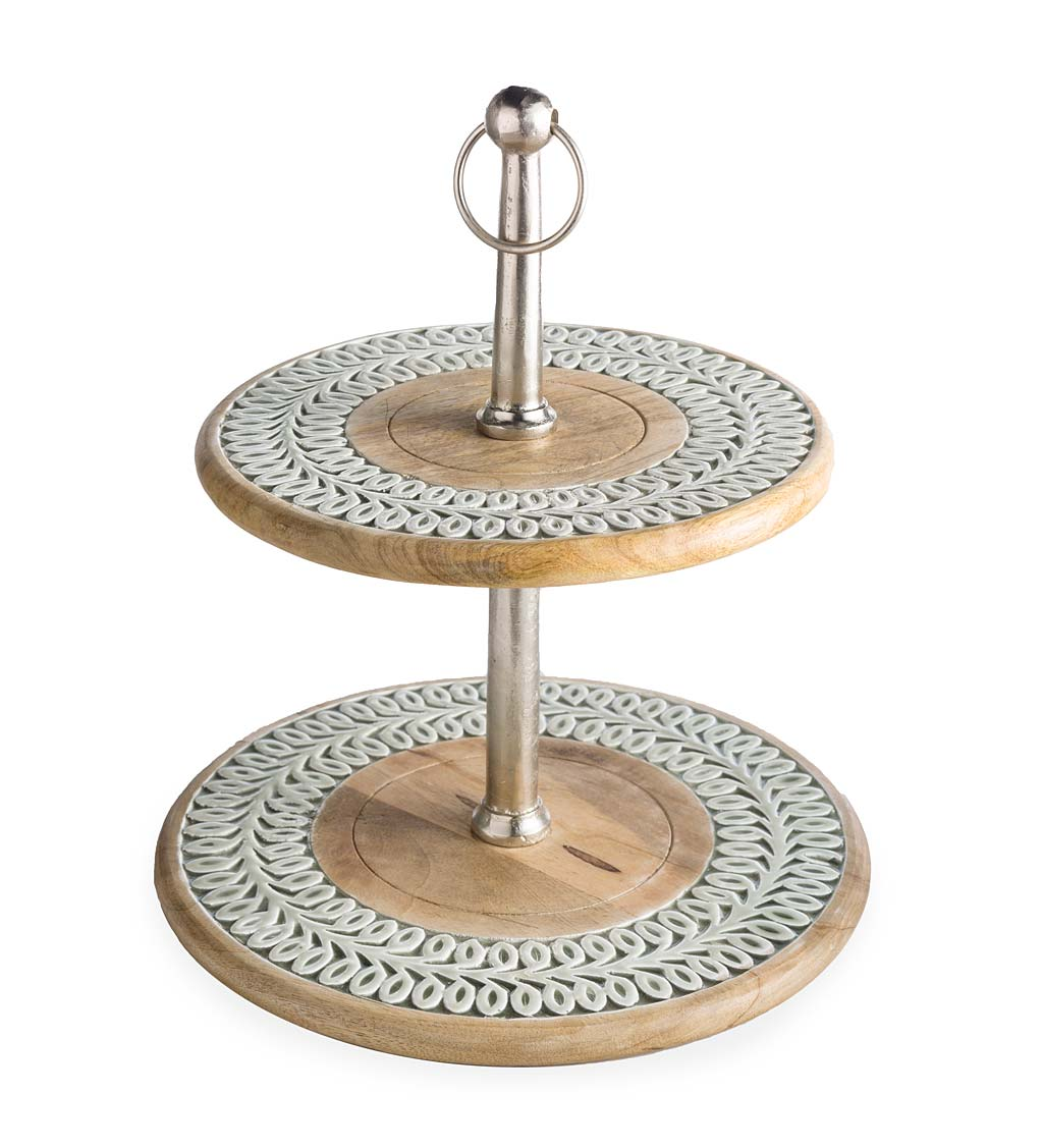 Mango Wood and Enamel 2-Tier Serving Stand