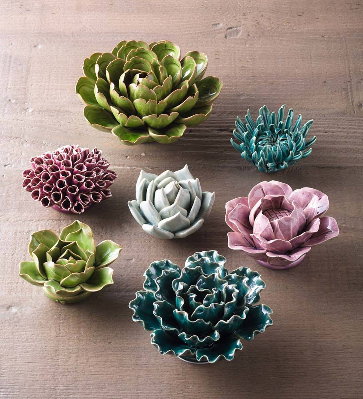 Ceramic Fl Wall Art Set Of 7