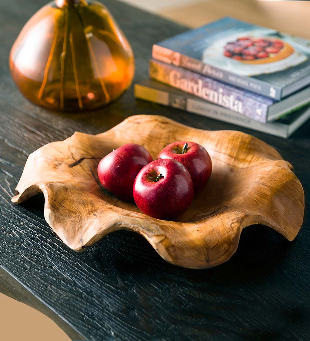 Teak Hand Carved Scalloped Edge Bowl