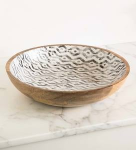 Ikat Grey Enameled Large Mango Wood Serving Bowl