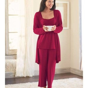 Eco-Weave Sleeveless Ruched Bodice Top & Cropped Pant Pajama Set - Scarlet - MD