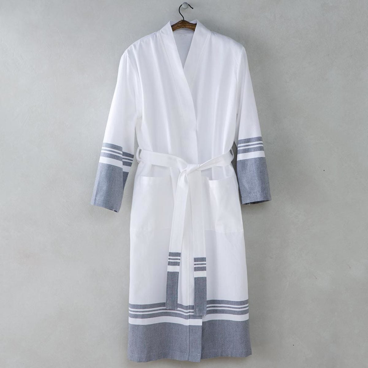 Turkish Cotton Striped Robe - Gray - L/XL (10-14)