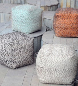 "Handwoven Cotton and Wool Cube Pouf, 18"" sq - Aqua"