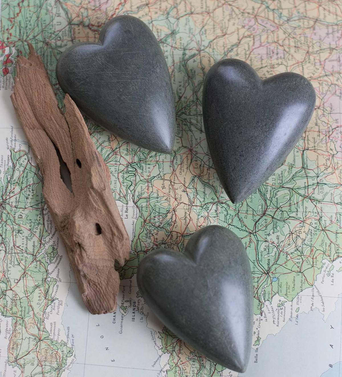 Carved Stone Hearts, Set of 6 - Dark Gray