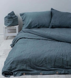 Stonewashed Belgian Flax Linen Bedding - King - Gray