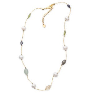 Silk Threaded Freshwater Pearl and Gemstone Necklace - Black