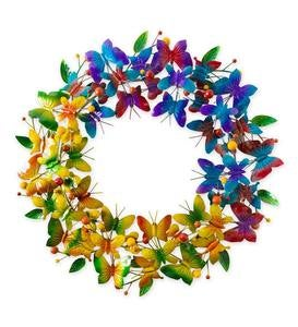 Metal Rainbow Butterfly Wreath