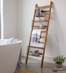 Teak Wall Ladder with Wire Baskets