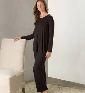 Eco Weave Long Sleeve Top and Ankle Pant Pajama Set - Cranberry - Large
