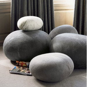 Dark Gray Felted Wool Stone - Large