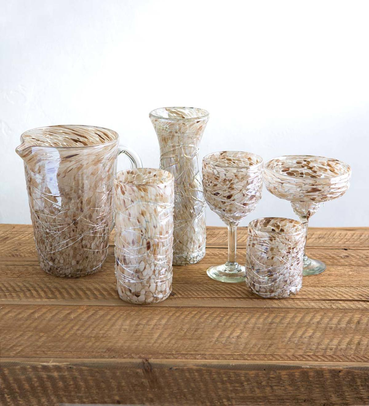 Shimmer Swirled Recycled Glassware Collection