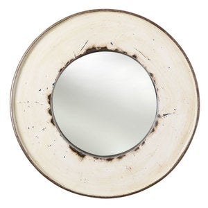 Recycled Oil Drum Mirror - White