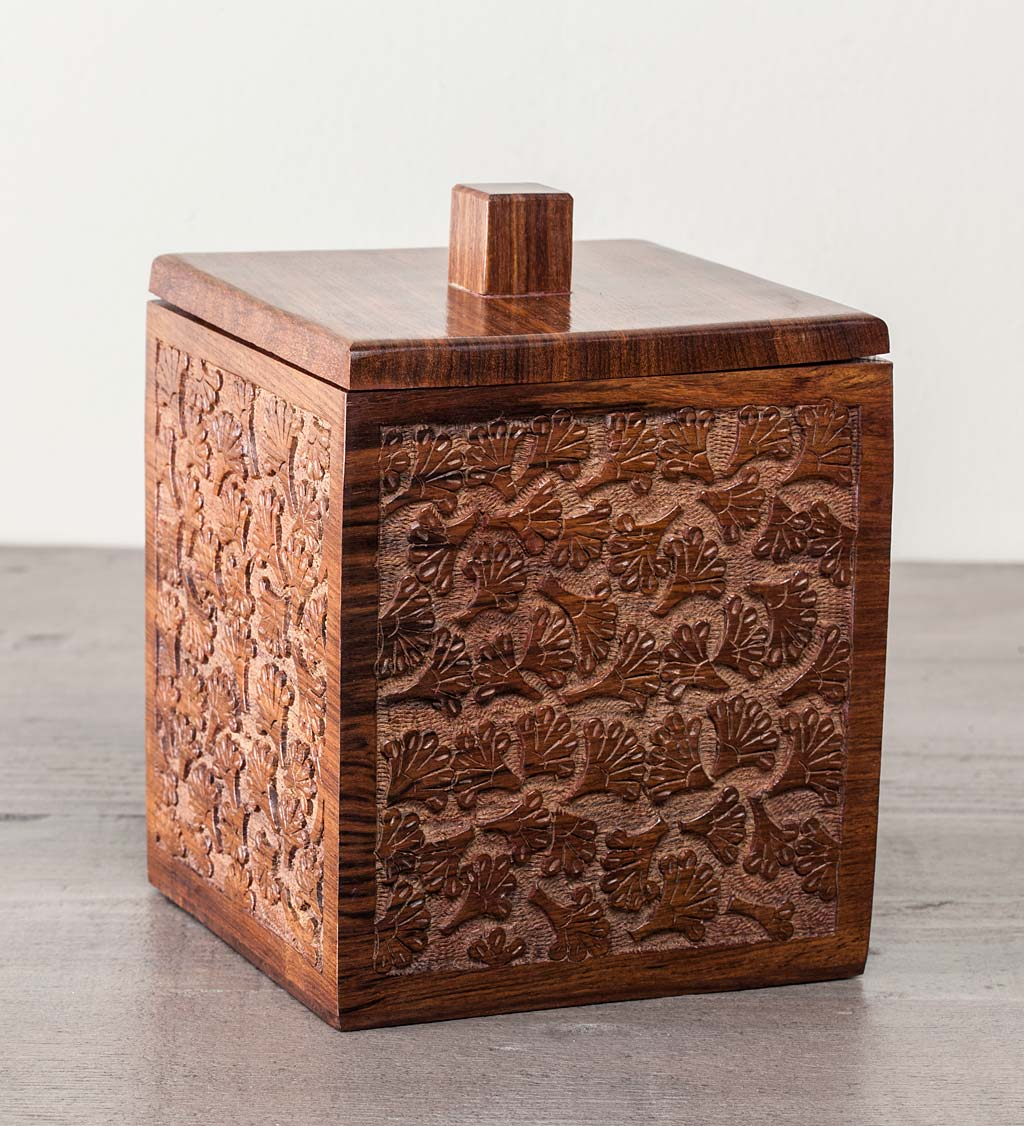 Rosewood Carved Ginkgo Canister, 7""