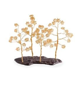 Golden Tree Sculpture on Metal Base
