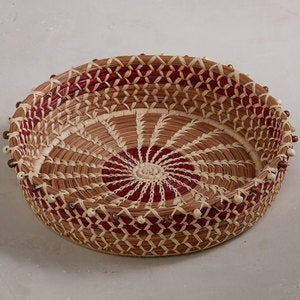 Handwoven Guatemalan Display Basket - Round Beaded