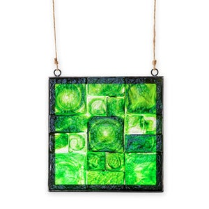 Framed Recycled Glass Block Art