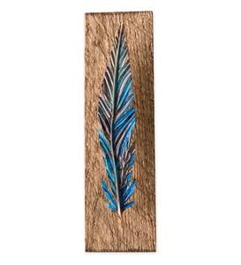 Metal and Wood Feather Wall Art