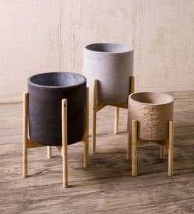Cylinder Cement Planters on Wooden Stands, Set of 2
