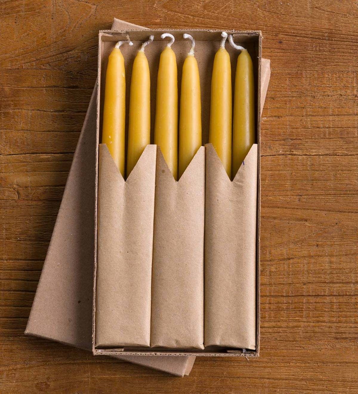 "All Natural Beeswax 8"" Taper Candles set of 6"