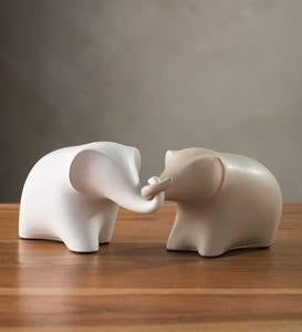 Loving Tubby Elephant Sculptures, Set of 2