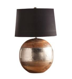 Mango and Metal Round Table Lamp