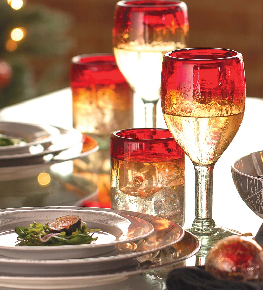 Maya Recycled Wine Glasses, Set /4 - Red